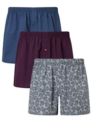 John Lewis Paisley Woven Cotton Boxers Pack Of 3 Blue Burgundy White