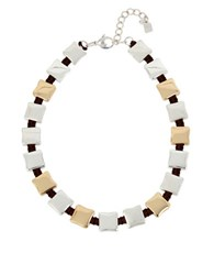 Robert Lee Morris Two Tone Square Station Collar Necklace Multi