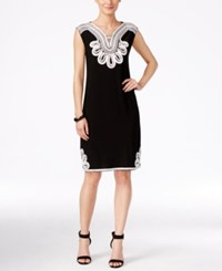Alfani Sleeveless Embroidered Shift Dress Only At Macy's Deep Black