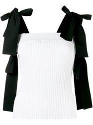 Msgm Ribbed Bow Detail Top Women Polyester Viscose S White