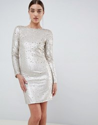Club L Two Tone Sequins Low Back Bodycon Mini Dress Gold