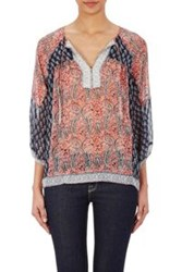 Ulla Johnson Georgette Aix Peasant Blouse Red