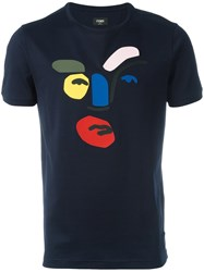 Fendi Abstract Face T Shirt Blue
