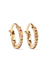 Ileana Makri Mini Rainbow 18 Karat Gold Multi Stone Earrings