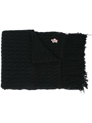 Moncler Grenoble Fringed Knit Scarf Black