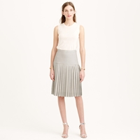 J.Crew Petite Drop Waist Pleated Skirt In Super 120S Wool