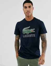 Lacoste Large Chest Logo T Shirt In Navy
