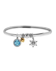 Lord And Taylor Sterling Silver And 14K Yellow Gold Blue Topaz Charm Bangle