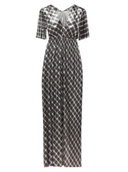 Paco Rabanne Checked Chainmail Maxi Dress Blue Silver