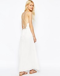 Asos Maxi Dress With Tie Back Ivory White