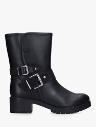 Carvela Solitary Leather Buckle Detail Calf Boots Black