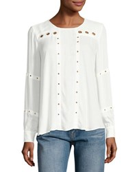 Finders Maddox Grommet Long Sleeve Top White