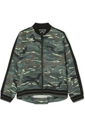 The Upside Ash Camouflage Print Linen And Tencel Blend Bomber Jacket Army Green