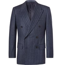 Kingsman Blue Double Breasted Pinstriped Wool Suit Jacket