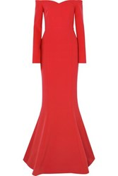 Rebecca Vallance L'amour Off The Shoulder Crepe Gown Red