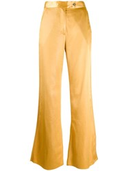 Acne Studios Satin Flared Trousers Yellow