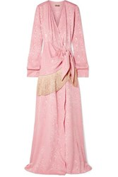 Hellessy Emerson Fringe Trimmed Moire Wrap Maxi Dress Pink