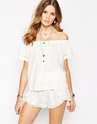 First And I Gypsy Trim Detail Top White