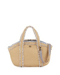 Eric Javits Squishee Covet Fringed Tote Bag Beige