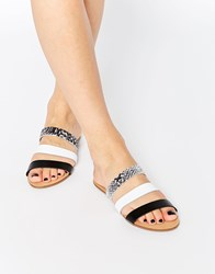 Pieces Strappy Flat Slide Sandals Silver