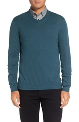 Ted Baker Men's London 'Cashguy' Trim Fit V Neck Sweater Teal