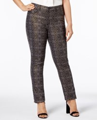 Charter Club Plus Size Metallic Print Skinny Jeans Created For Macy's Deep Black