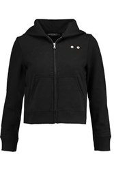Marc By Marc Jacobs Embellished Cotton Jersey Hooded Sweatshirt Black