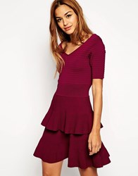 Asos Skater Dress In Structured Knit With Double Layer Pink