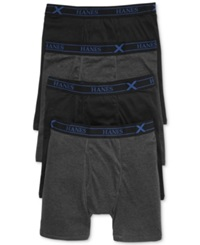 Hanes Men's X Temp Boxer Briefs 4 Pack Black Grey