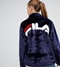 Fila Jacket With Contrast Pockets And Logo Back In Faux Fur Navy