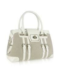 Buti White Patent Leather And Canvas Satchel Bag
