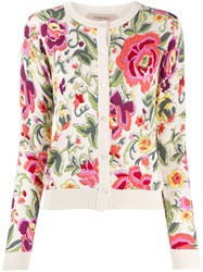Twin Set Floral Print Buttoned Cardigan Neutrals