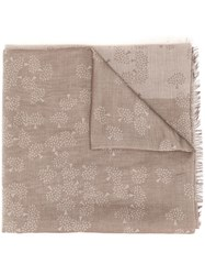 Mulberry All Over Logo Scarf Neutrals