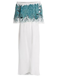 Mara Hoffman Leaf Embroidered Off The Shoulder Dress Green White