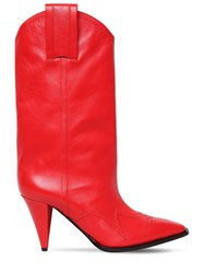 Nina Ricci 90Mm Leather Cowboy Boots Red