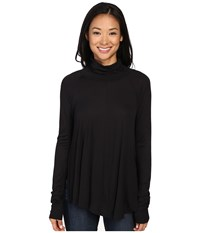 Lilla P Warm Viscose Swing Turtleneck Black Women's Sweater