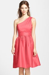 Women's Alfred Sung One Shoulder Satin Fit And Flare Dress Firecracker