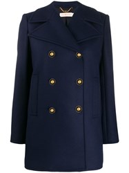 Tory Burch Double Breasted Peacoat Blue
