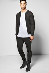 Boohoo Fit Ribbed Bomber Tracksuit Black