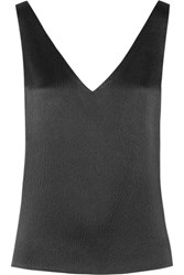 Maiyet Open Back Textured Silk Top Black