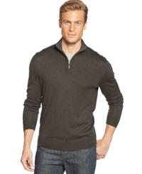 Club Room Big And Tall Merino Blend Quarter Zip Sweater Dark Taupe Heather