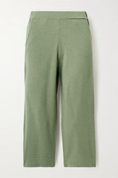 Allude Cropped Cashmere Track Pants Green