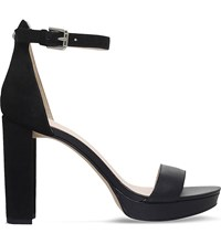Nine West Dempsey Suede And Leather High Heel Sandals Black