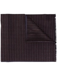 Canali Houndstooth Pattern Scarf Brown