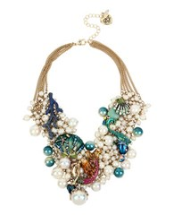 Betsey Johnson Glitter Reef Mermaid And Sea Shell Shaky Pearl Mesh Necklace Green