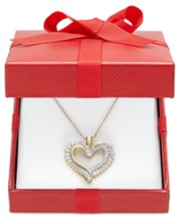 Macy's Diamond Heart Pendant Necklace 1 2 Ct. T.W. In 10K White Or Yellow Gold