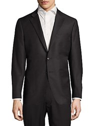 Saks Fifth Avenue Modern Fit Textured Wool Blend Sportcoat Charcoal