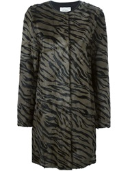 Yves Salomon Zebra Print Coat Grey