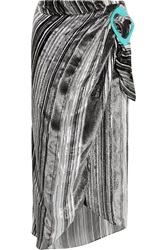 J.W.Anderson Striped Devore Velvet Midi Skirt