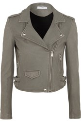 Iro Ashville Washed Leather Biker Jacket Gray